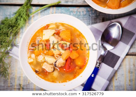 Oyster soup with vegetables Stock photo © brebca