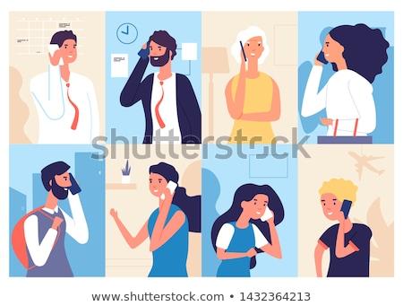 Businessman and woman talking vector illustration. Stock photo © RAStudio
