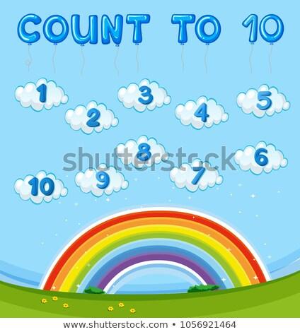 Matematik on gökkuşağı gökyüzü örnek okul Stok fotoğraf © colematt