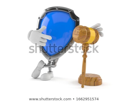 wooden gavel and shield on white background isolated 3d illustr stock photo © iserg