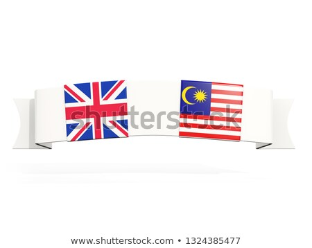 Banner with two square flags of United Kingdom and malaysia Stock photo © MikhailMishchenko