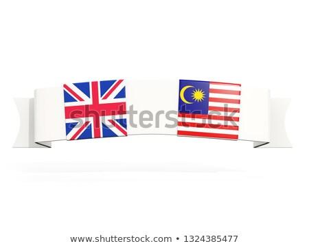 баннер два квадратный флагами Великобритания Малайзия Сток-фото © MikhailMishchenko