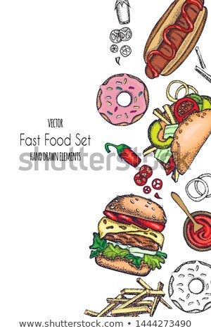 Color boceto hamburguesa con queso dibujado a mano ilustración eps Foto stock © netkov1