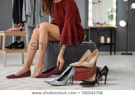 kadın · ayakkabı · oturma · ahşap · zemin · kadın - stok fotoğraf © dolgachov