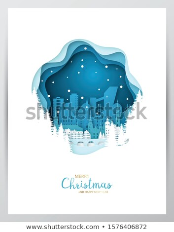 merry christmas paper cut old town in winter stock photo © robuart