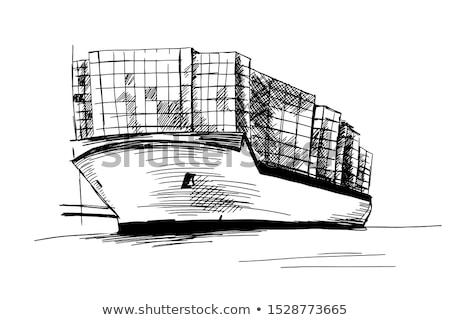 эскиз · грузовое · судно · изолированный · белый · вектора · морем - Сток-фото © Arkadivna
