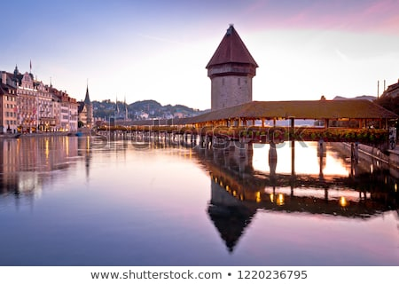 Kapelbrucke in Lucerne famous Swiss landmark dawn view stock photo © xbrchx