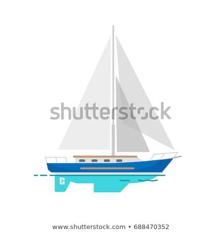 zeilschip · witte · icon · geïsoleerd · Blauw · vector - stockfoto © robuart