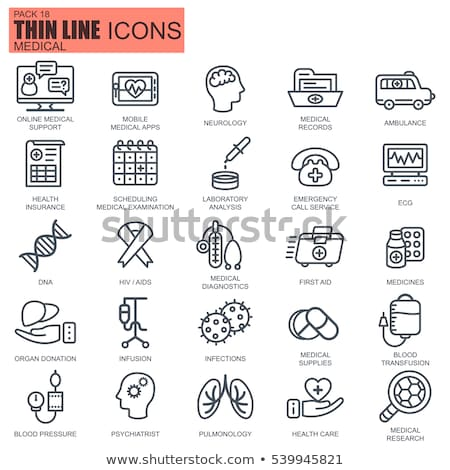 thin line healthcare and medicine medical equipment icons set for website and mobile site and apps stock photo © makyzz