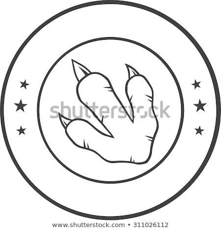 Preto e branco dinossauro pata círculo design de logotipo Foto stock © hittoon