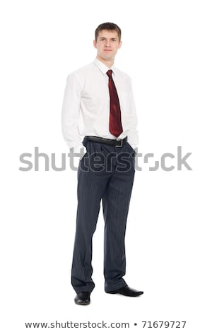 Full length portrait of smiling european man with tied hair look Stock photo © deandrobot