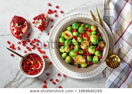 Granat kamień tabeli żywności owoce Zdjęcia stock © dolgachov