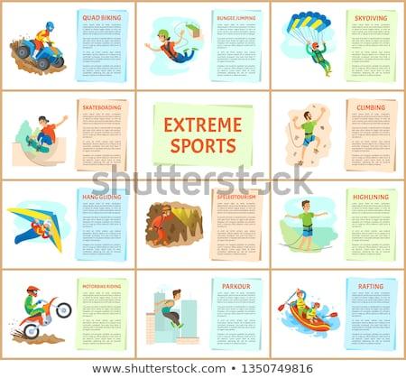 extrema · ir · bicicleta · de · montana · hombre · amanecer · piedra - foto stock © robuart