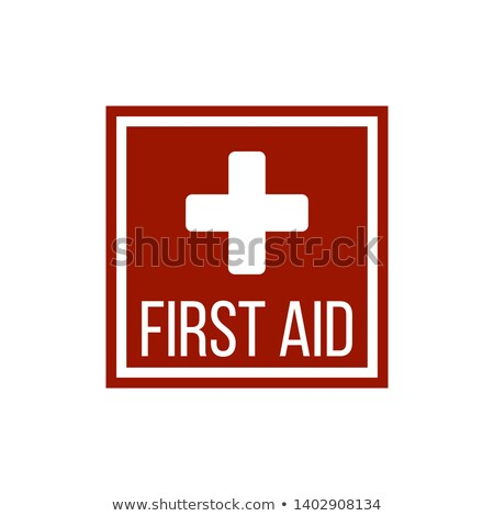 silhouette of a cross in the red square first aid medical sign flat vector icon for apps website stock photo © kyryloff