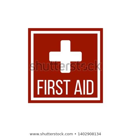 Silhouette croix Place Rouge premiers soins médicaux signe Photo stock © kyryloff