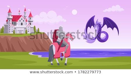 騎士 · 龍 · 森林 · 実例 · 空 · 風景 - ストックフォト © colematt
