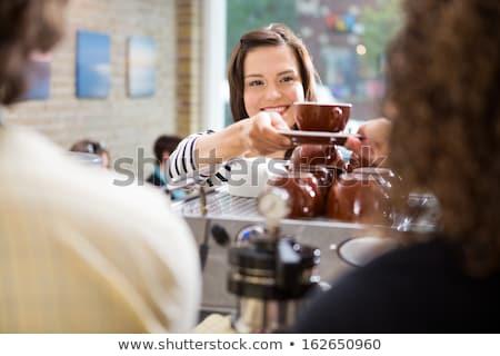 улыбаясь женщины Бариста эспрессо кофейня портрет Сток-фото © dashapetrenko