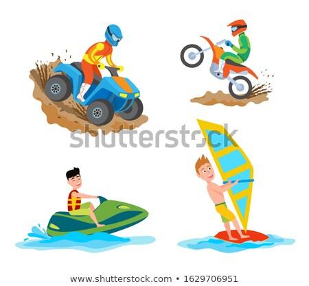 Motorbicikli lovaglás hobbi windszörf emberek hobbik Stock fotó © robuart