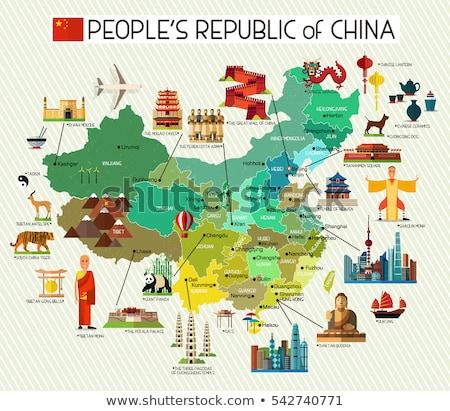 Zászló Kína térkép panda ázsiai felirat Stock fotó © robuart