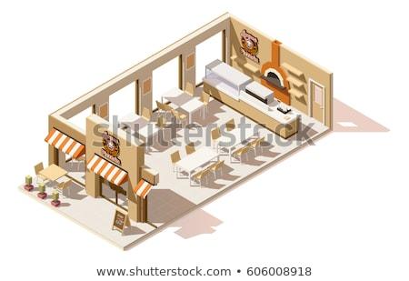 Vector isometric pizzeria interior cross-section Stock photo © tele52
