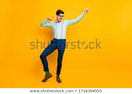 Dans adam sarı pantolon yalıtılmış dansçı Stok fotoğraf © robuart