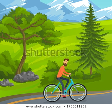 Smiling Man Riding Bicycle near Green Trees Vector Stock photo © robuart