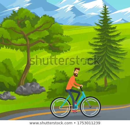 férfi · lovaglás · bicikli · park · kerékpáros · bicikli - stock fotó © robuart