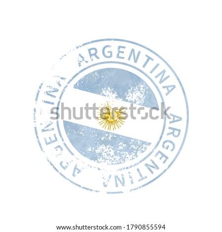 Argentina sign, vintage grunge imprint with flag on white Stock photo © evgeny89