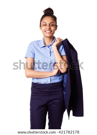Business lady with coat slung over her shoulder Stock photo © stockyimages