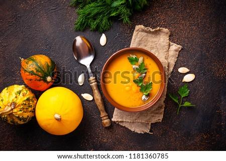 Sütőtök leves tál tökök étel vacsora Stock fotó © MKucova