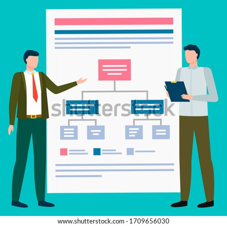 Presenter and Board with Scheme, Workers Vector Stock photo © robuart