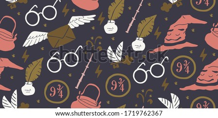 Collection of vector flash seamless patterns. Cartoon black and white design. Artistic endless thund Stock photo © ExpressVectors