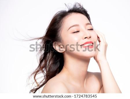 retrato · tenro · mulher · jovem · posando · cinza - foto stock © zittto