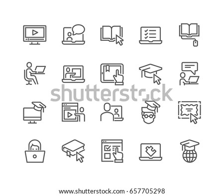 laptop thin line icon stock photo © rastudio