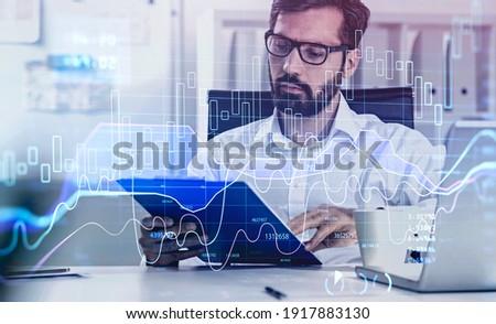 Estoque traçar técnico tela do computador negócio Foto stock © solarseven