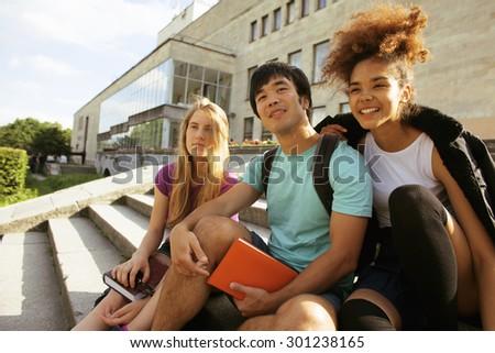 肖像 幸せ 若い女の子 学生 座って 手順 ストックフォト © deandrobot