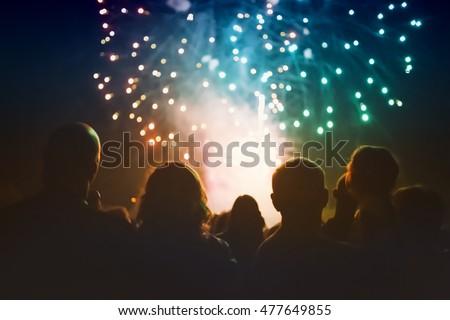 mensen · kijken · vuurwerk · nieuwjaar · vakantie · vakantie - stockfoto © choreograph