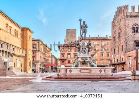 Fountain of Neptune, Bologna Stock photo © boggy