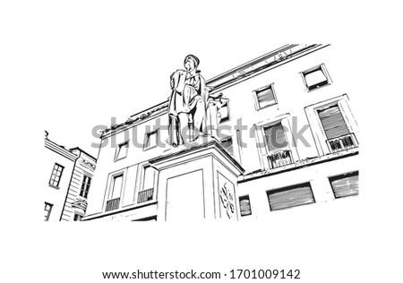 Parma City skyline black and white silhouette. Stock photo © ShustrikS