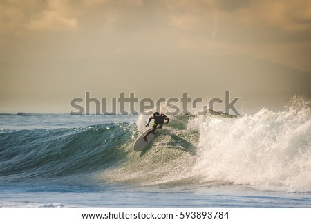 tropicales · océan · surf · coucher · du · soleil · temps · plage - photo stock © cienpies