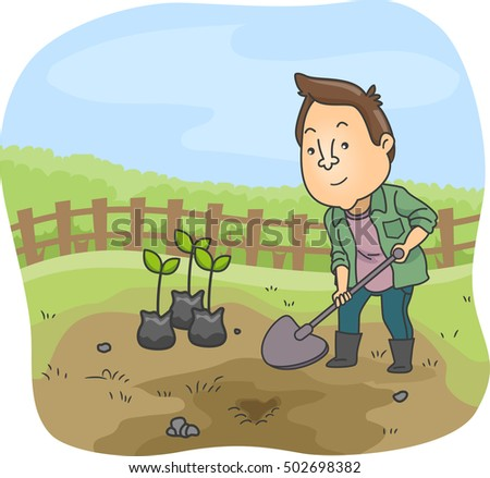 Farmer Digging and Planting Vector Illustration Stock photo © robuart