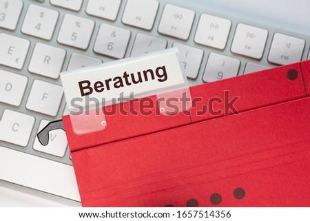 папке Label Consulting бизнеса пер столе Сток-фото © Zerbor