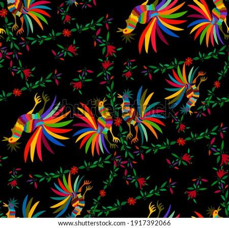 Mexican kwiatowy bezszwowy włókienniczych wektora wzór Zdjęcia stock © RedKoala