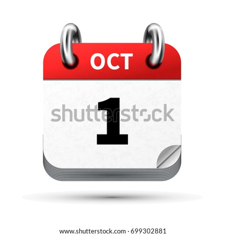 Bright realistic icon of calendar with 1st october date isolated on white Stock photo © evgeny89
