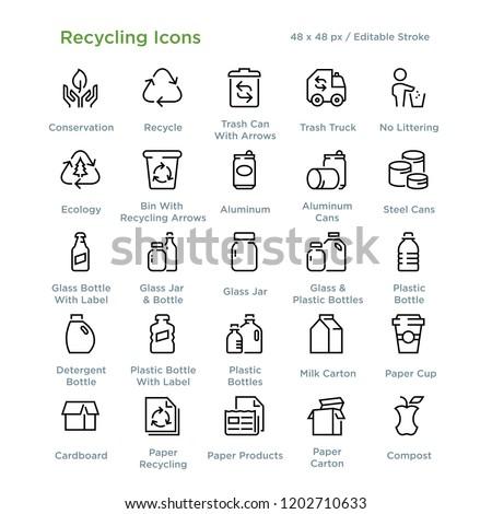 Wektora zestaw recyklingu śmieci podpisania butelki Zdjęcia stock © olllikeballoon
