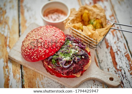 Beetroot burger on shabby table Stock photo © dash