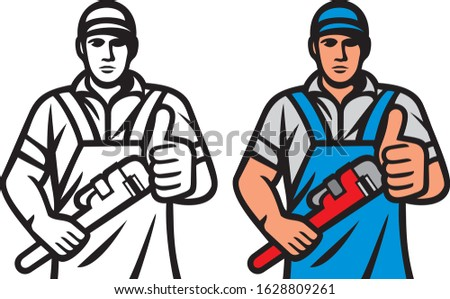 férfi · jóképű · vízvezetékszerelő · buzgó · csövek · problémák - stock fotó © photography33