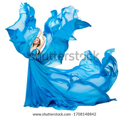 blue bodypainted woman and fabrics Stock photo © prill