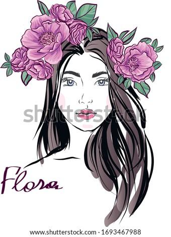 美しい 若い女性 花 ヌード 顔 裸 ストックフォト © ilolab