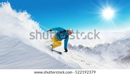 sí · fiatal · nő · síel · Alpok · szabadtér · sportok - stock fotó © val_th